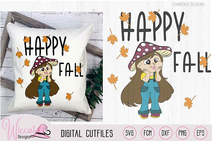 Funny mushroom girl, Happy fall quote, october design