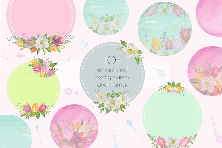 Floral Design Pack (watercolor & pastel) - Free Design of The Week Design 3