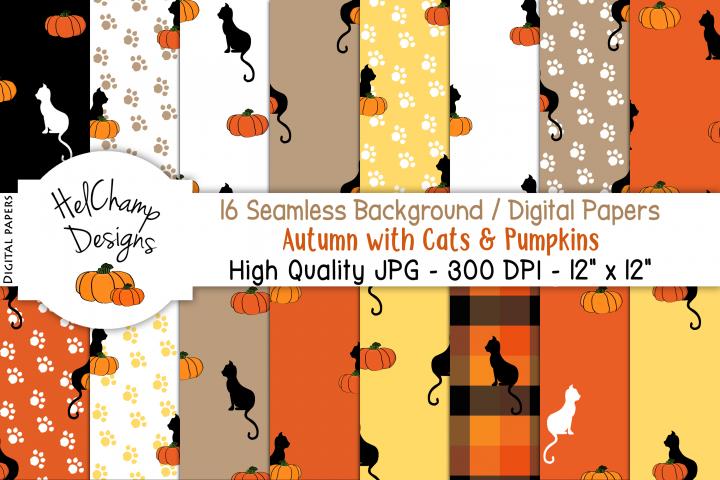 16 seamless Digital Papers - Autumn Cats Pumpkins - HC002