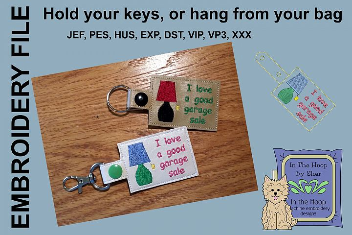 ITH Garage Sale Key Fob - Embroidery Design