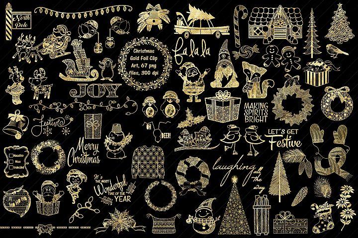 Gold Foil Christmas Megapack Clip Art