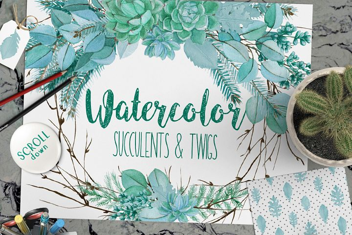 Wedding Watercolor Succulent Set