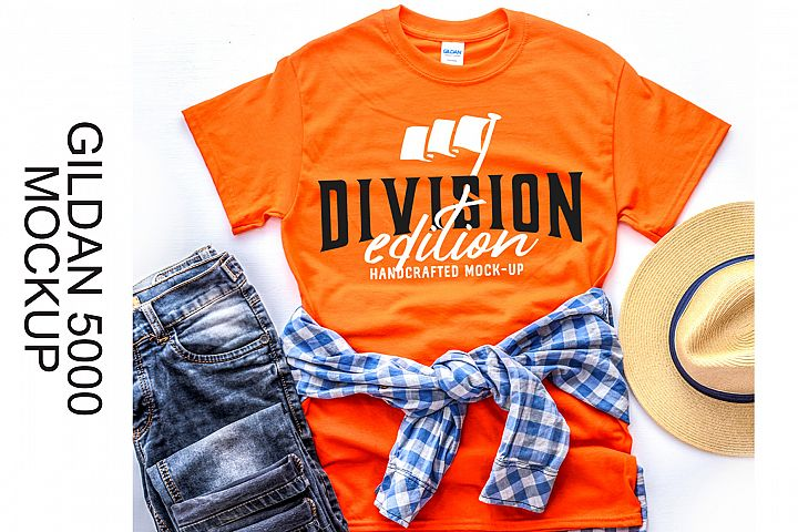 Shirt Mockup - Gildan - 5000 - Orange - photography