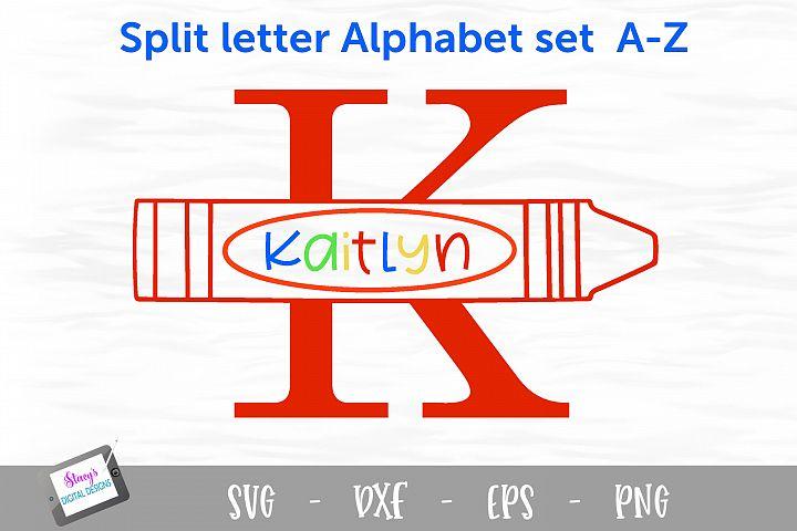 Split Letters A-Z - 26 Split Monogram SVG w/ crayons