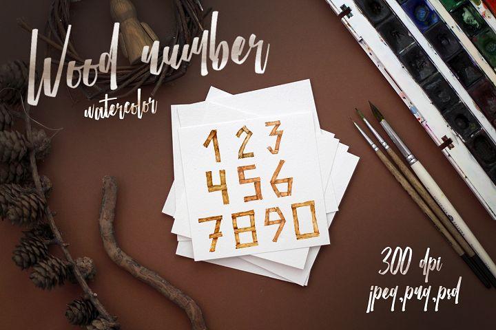 Watercolor wood numbers