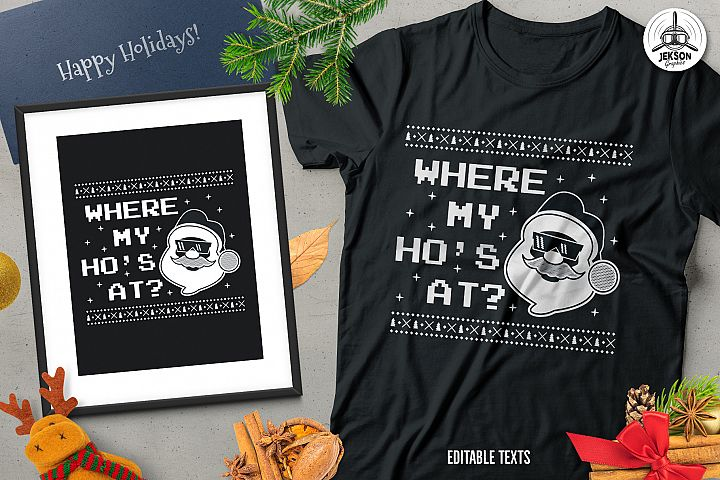 Funny Christmas Santa T-Shirt, Retro Design. Xmas Tee SVG