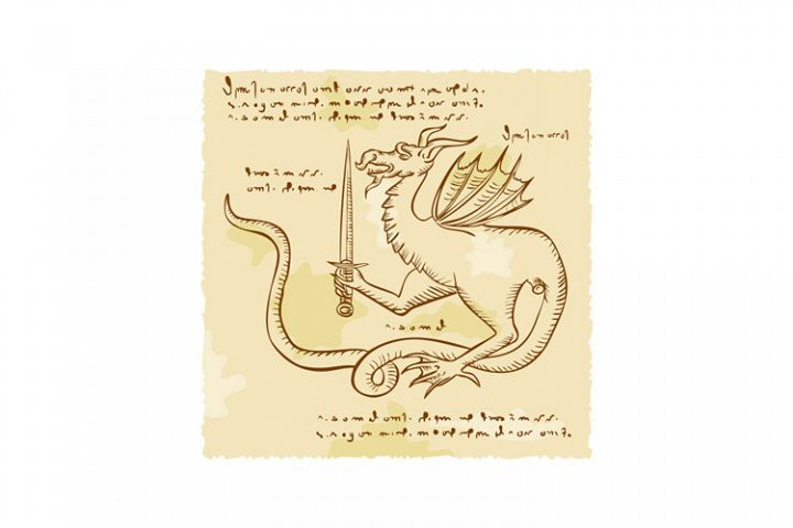 Dragon Holding Sword Etching