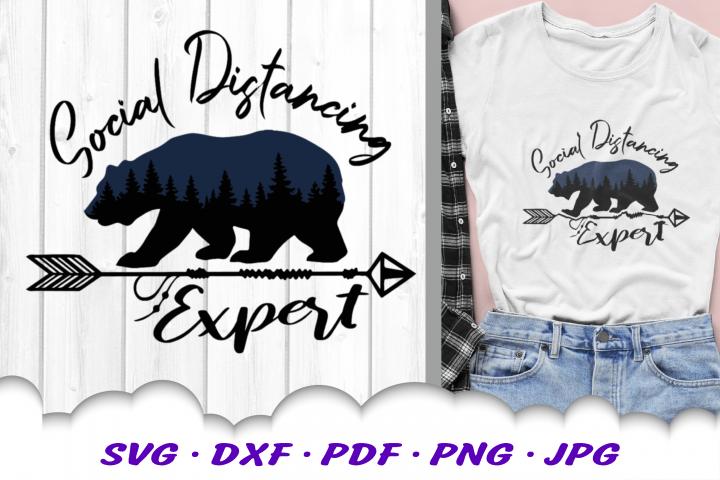 Social Distancing Expert Bear SVG DXF Cut Files