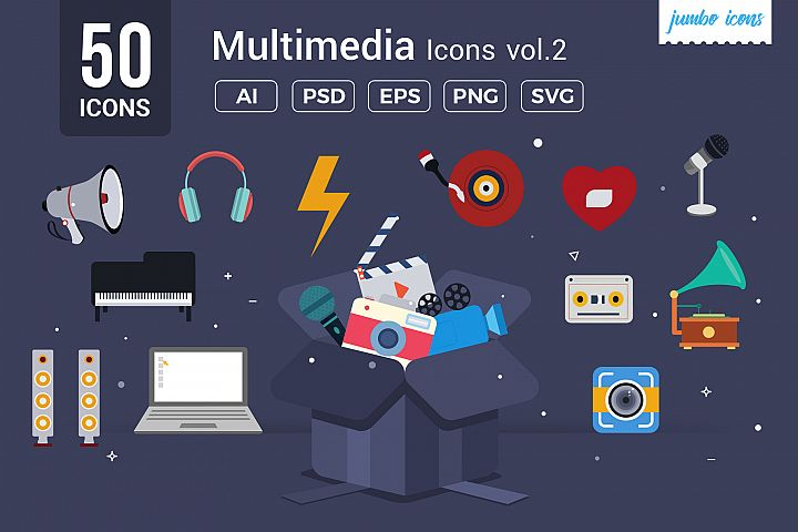 Flat Vector Icons Multimedia Pack V2