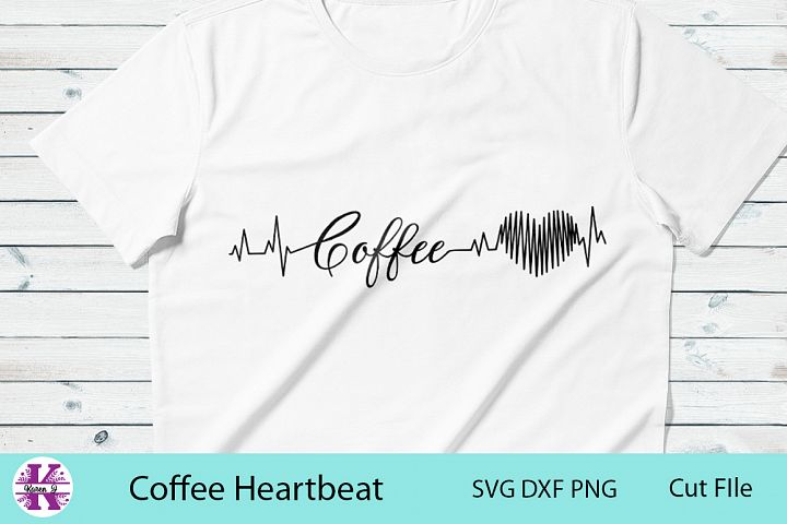 Coffee Heartbeat-SVG DXF PNG- For Crafters