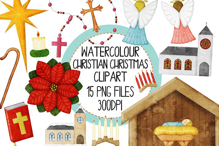 Watercolor Christian Christmas Clipart Set 1