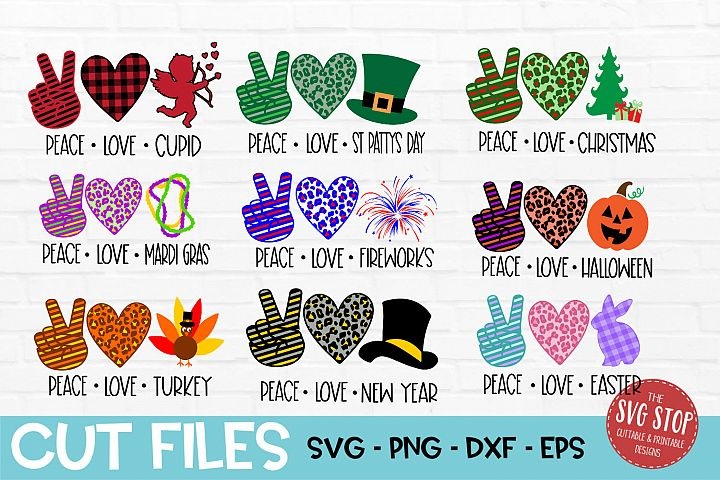 Peace Love Bundle SVG, PNG, DXF, EPS