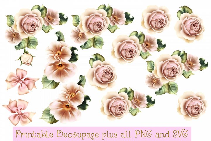Pink Roses Decoupage JPEG, SVG and PNGs COmmercial Use