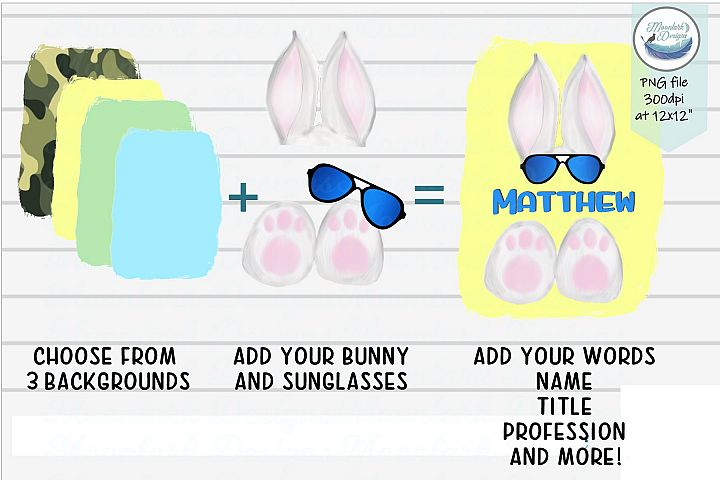 Sunglasses Bunny ears and toes | add your words PNG boy