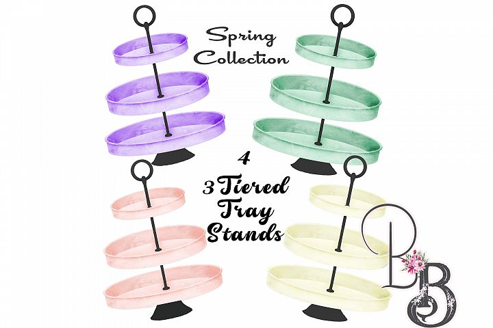 4, 3 Tiered Tray Stands Spring Colors Bundle