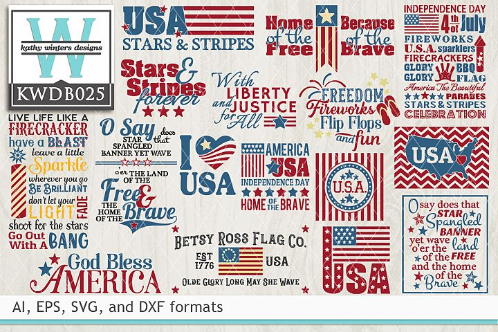 BUNDLED Patriotic Cutting Files KWDB025