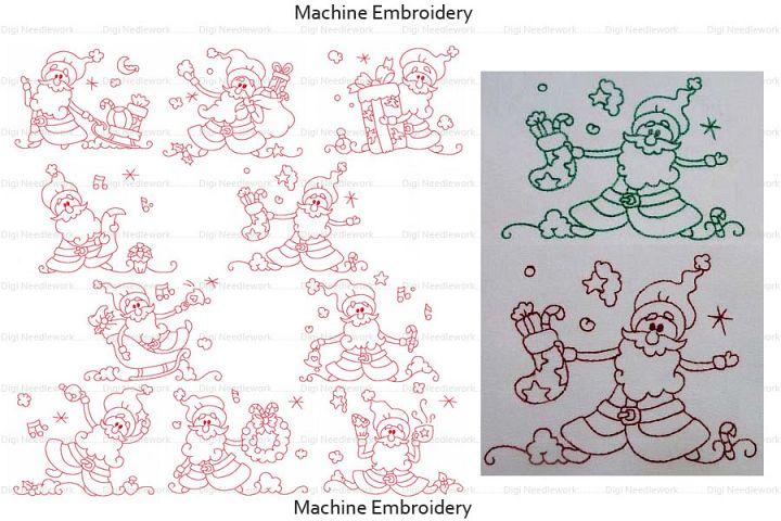 Santa Borders 4x4 5x5 6x6 7x7 8x8 Hoops Machine Embroidery