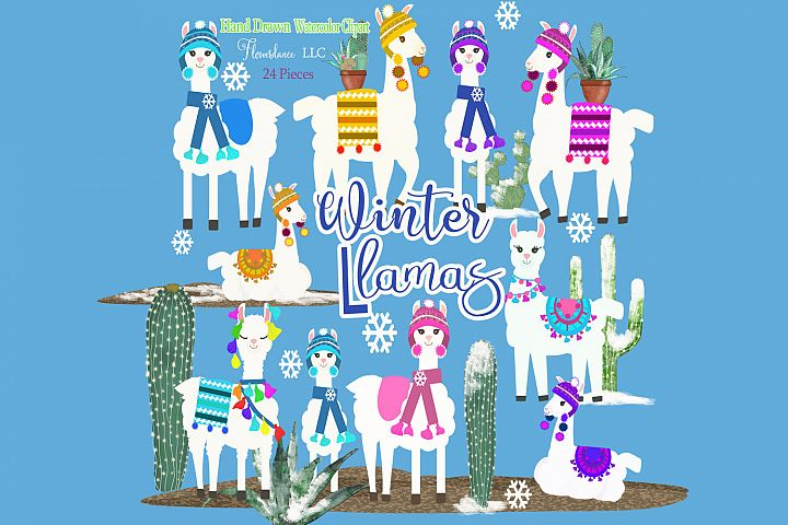 Llama Clipart, Winter, Cactus, Snow, Christmas PNG