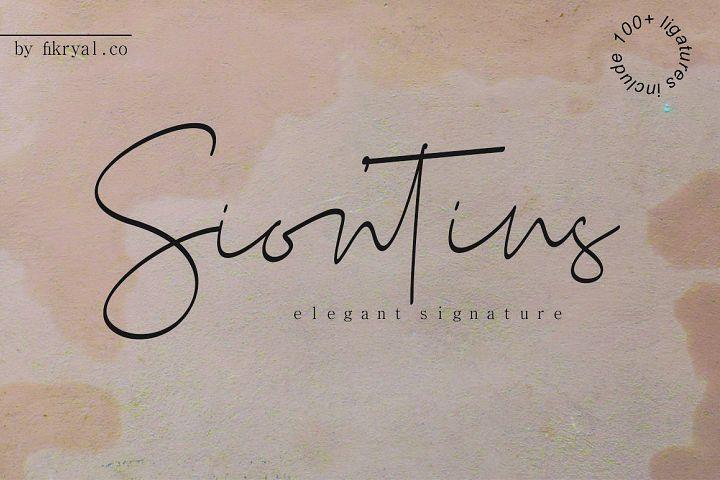 Siontins // elegant signature font