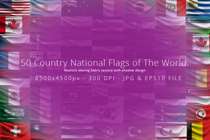Realistic waving 50 Country National Flags of The World.