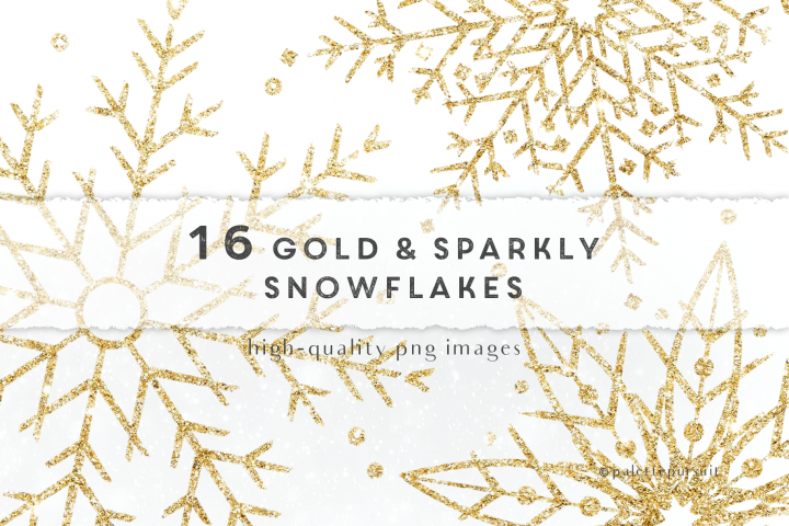 Gold glitter snowflakes clip art, Christmas clipart