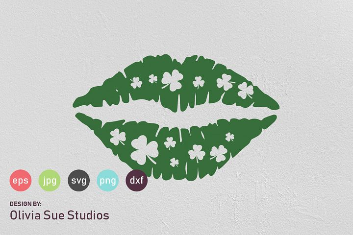 Shamrock Clover Kisses St Patricks Day SVG Cut File
