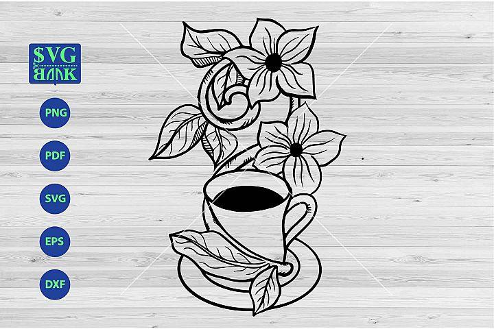 Coffee mug svg, coffee with flower cut file, floral artwork