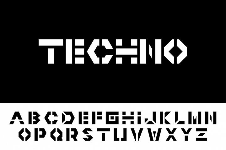 Vector english techno alphabet