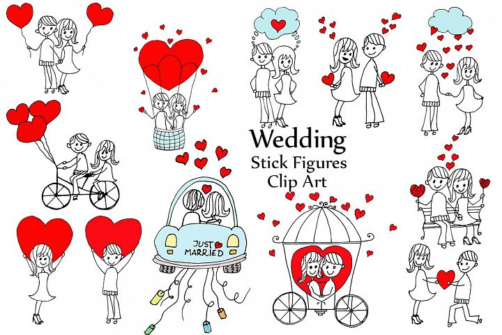 Wedding stick figure clip art