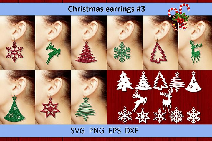 12 Christmas earrings svg Leather earrings svg Necklace svg