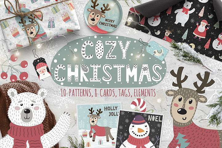 Cozy Christmas patterns & cards