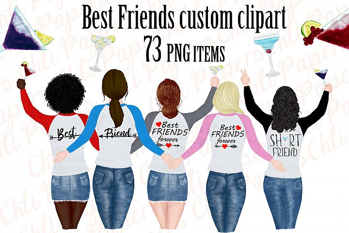 Best friend clipart,Portret creator,Bachelorette party girls