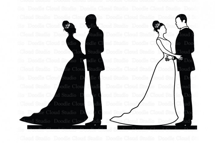 Wedding Cake Topper, Bride and Groom SVG, Black Couple.