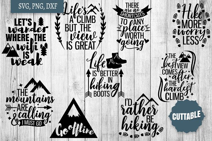 Hiking cut file Bundle, Hiking, outdoors lover SVG quotes