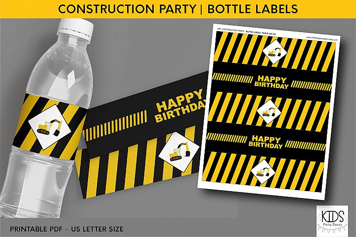Construction party Water Bottle Labels, excavator birthday