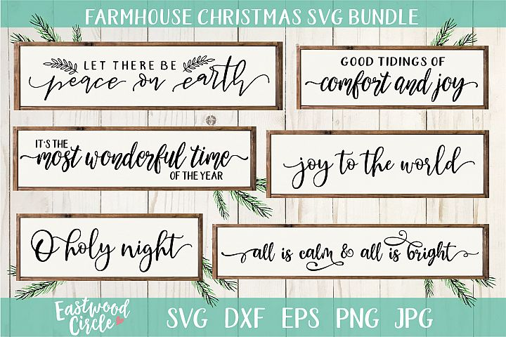 Farmhouse Christmas Sign SVG Bundle - Cut Files for Crafters