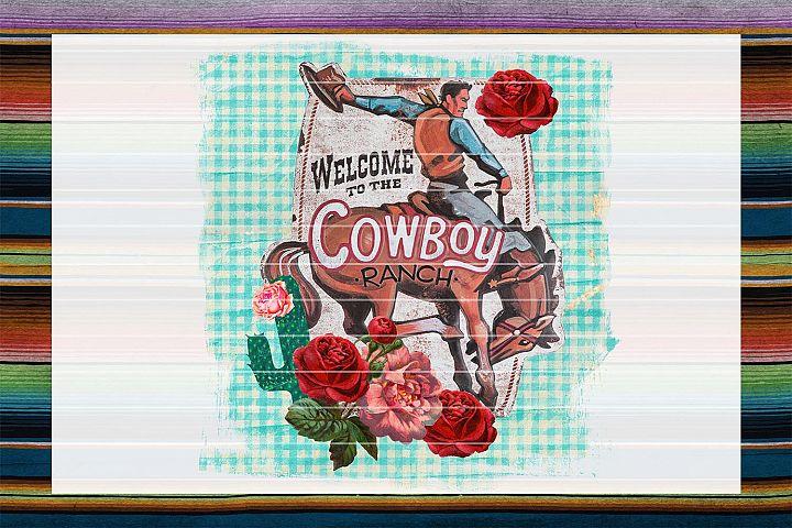 Cowboy Ranch & Roses Sublimation Digital Download