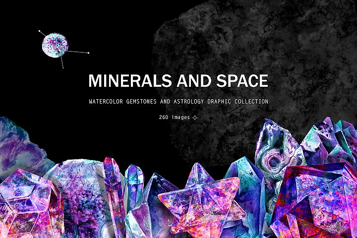 Minerals and space. Astrology set