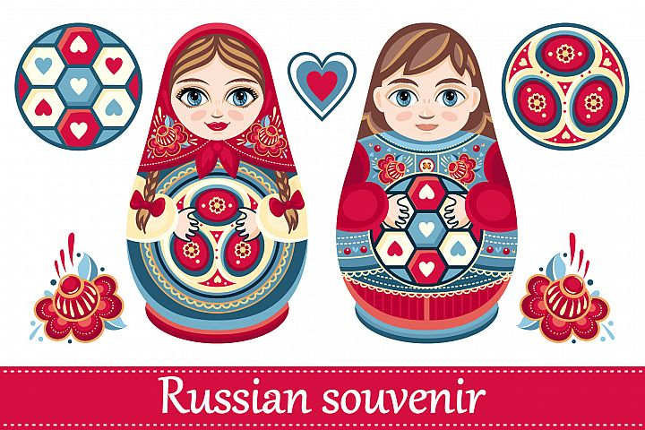 Matryoshka. Russian souvenir. Soccer balls for children. Footbal. Babushka doll