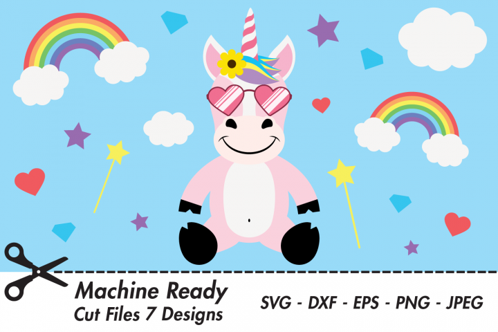 Cool Unicorn SVG Cut Files, Happy Magical Unicorn