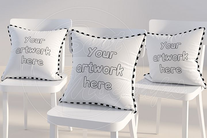 Three square PILLOWS mockup styled