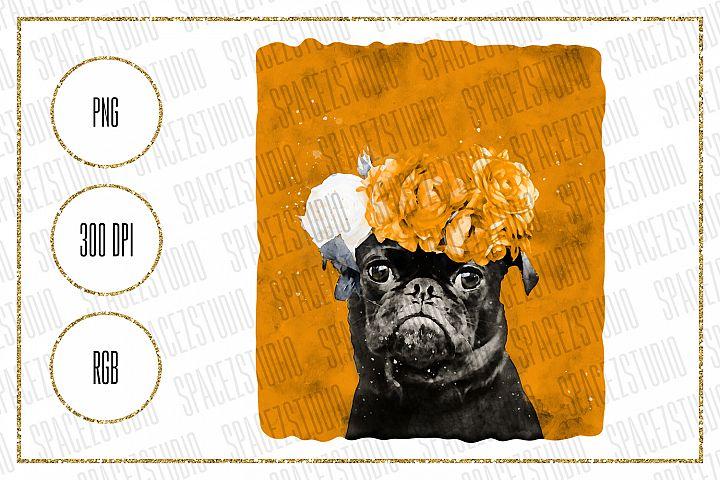 Pug Wearing Floral Wreath Design For Sublimation