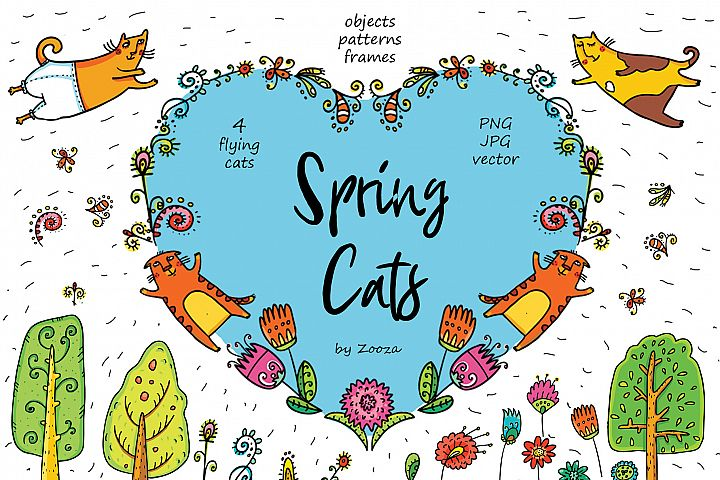 Spring Cats - 42 objects example