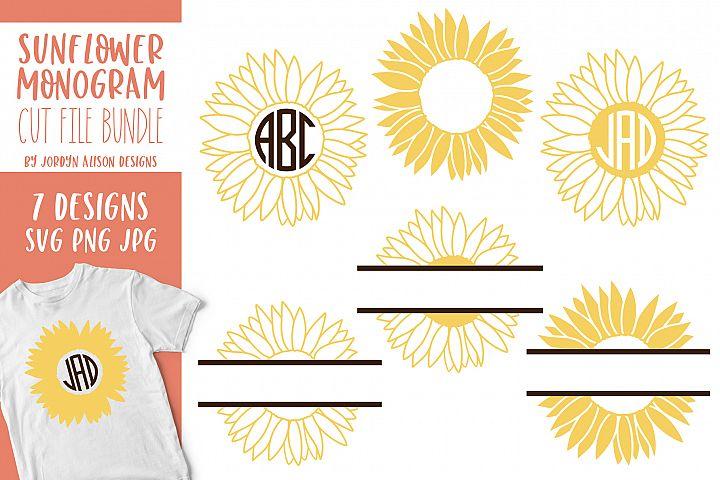 Sunflower Monogram Bundle, SVG Cut Files - Free Design of The Week