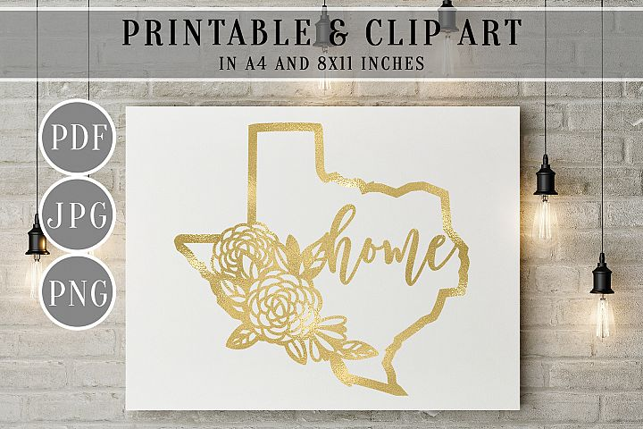 Gold Foil Texas Map Printable, Clip Art, Home Decor Wall Art