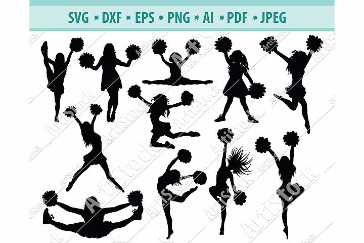 Cheerleader svg, Cheer svg, Woman sport svg, Dxf, Png, Eps