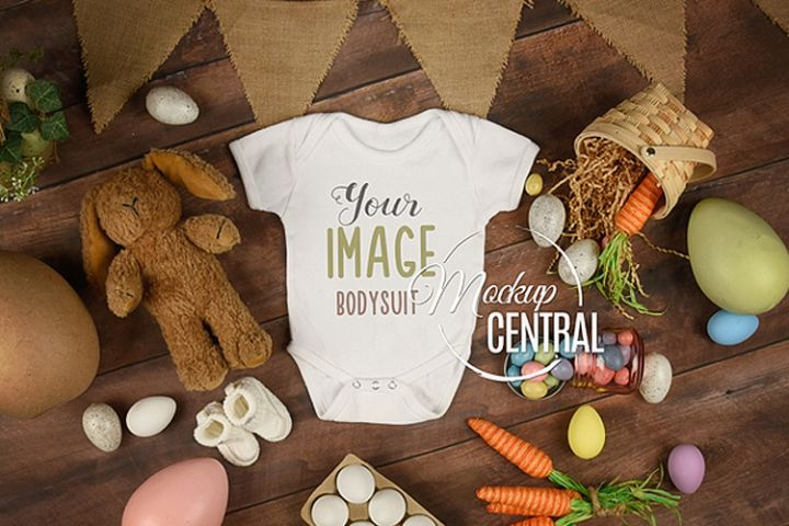 Baby Blank White Easter Onepiece Bodysuit Apparel Mockup