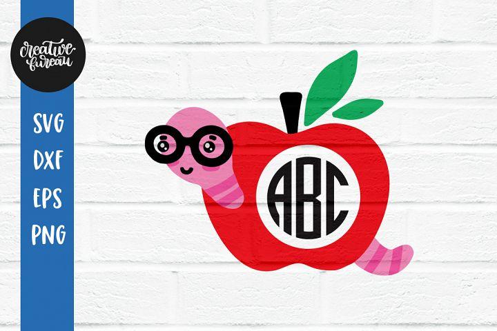 Apple Monogram Frame SVG, School Monogram Frame SVG