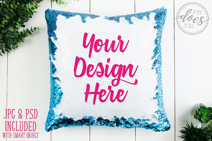 Blue Sequin Pillow Mockup with Smart Object