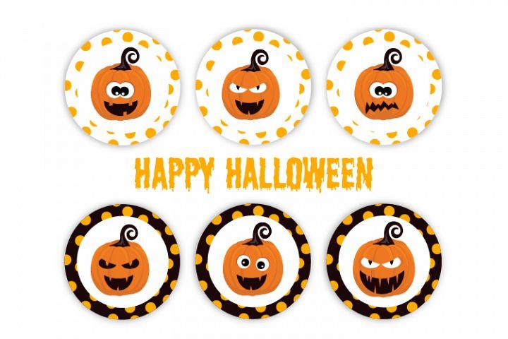 Halloween pumpkin labels. Cute halloween pumpkin.